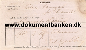 Kvitterings kupon for fragtbrev Arden til Rørbæk 1931