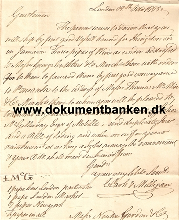 Document England London Regarding Wine. 18 februar 1775