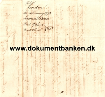 Document England London Regarding Wine. 10 februar 1776