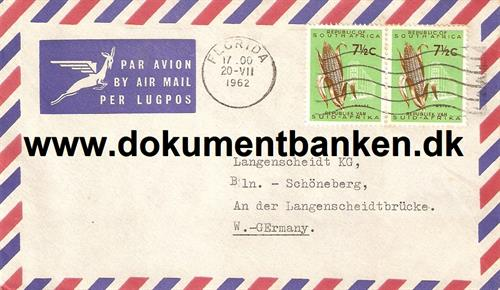 South Africa. Air Mail kuvert 1962