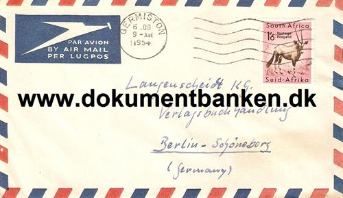 South Africa. Air Mail kuvert 1954