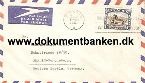 South Africa. Air Mail kuvert 1951