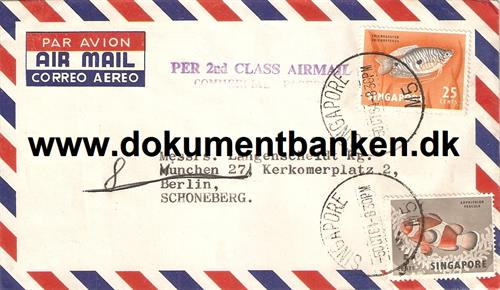 Singapore. Per 2nd Class Airmail Kuvert. 1964
