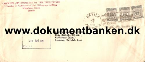 Luftpostbrev til Germany, British Zone 1951