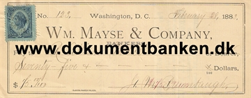 Wm. Mayse & Company. Bankers. Washington D. C. Check. 1883