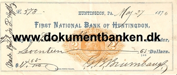 First National Bank of Huntingdon. Pennsylvania. Check. 1876