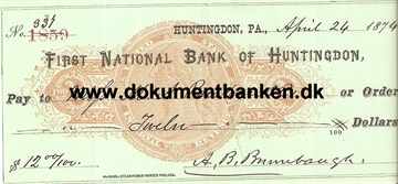First National Bank of Huntingdon. Pennsylvania. Check. 1874