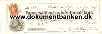 Farmers & Merchants National Bank. Baltimore. Check. 1869