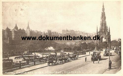 Mound, Castle and Scott Monument, Edinburgh. 9 maj 1911