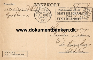 Interneret post. Lynetten. Brevkort. 1 oktober 1943