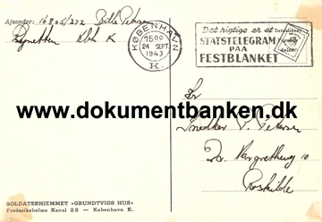 Interneret post. Lynetten. Brevkort. 24 september 1943