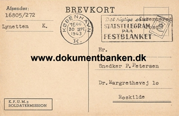 Interneret post. Lynetten. Brevkort. 30 september 1943