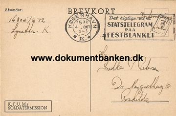 Interneret post. Lynetten. Brevkort. 4 oktober 1943