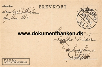 Interneret post. Lynetten. Brevkort. 18 september 1943