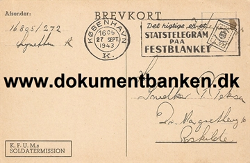 Interneret post. Lynetten. Brevkort. 27 september 1943