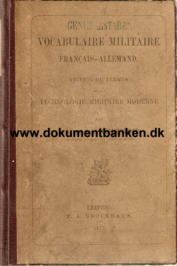 Vocabulaire Militaire. Francais - Allemand. Technologi moderne. Book by Lieutenant Ribbentrop. 1877